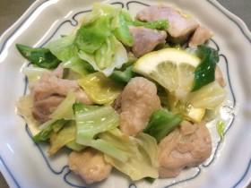キャベツと鶏もも肉のレモン炒め-2015.7.21
