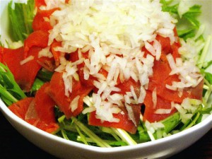 水菜とスモークサーモンのサラダ-2015.7.23