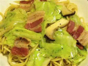 キャベツとベーコンのパスタ アンチョビ風味-2015.7.28
