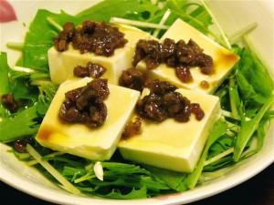 水菜と豆腐のサラダ2種-1-2015.7.23