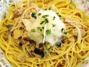 鮭缶のスープスパゲッティ-2015.7.31